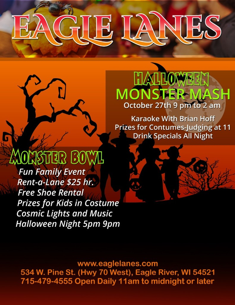 halloween monster mash - eagle lanes | eagle river wi